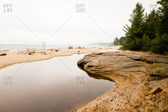 Shoreline along Lake Superior in Michigan