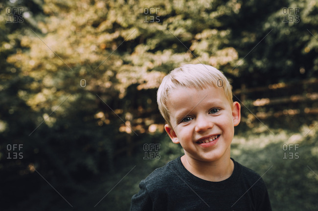 Little boy smiling for portrait