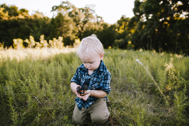 A boy playing with toys in a pasture