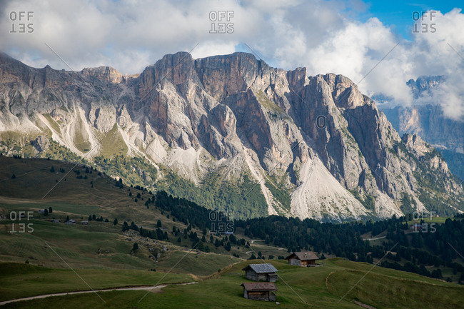 Italy, Val Gardena - September 12, 2015: The landscape is breathtaking at the Val Gardena in Southern Tyrol in Italy. The mountain range and rocky landscape are part of the Dolomites, which are also known as the Southern Limestone Alps
