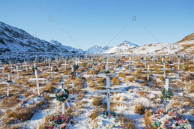 Greenland, Tasiilaq - October 18, 2015: The local cemetery in Tasiilaq, which is a town in the Sermersooq municipality in southeastern Greenland. Greenland is an autonomous country within the Kingdom of Denmark, located between the Arctic and Atlantic Oceans, east of the Canadian Arctic Archipelago