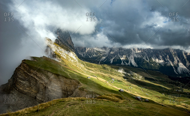 Italy, Val Gardena - September 12, 2015: The landscape is breathtaking at the Val Gardena in Southern Tyrol. The mountain range and rocky landscape are part of the Dolomites, which are also known as the Southern Limestone Alps. Here the Geislerspitzen of
