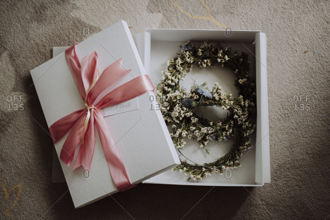 Bridal floral wreaths in gift box