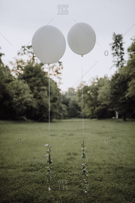 Two white balloon decorations at outdoor wedding