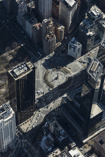 An aerial view of Columbus Circle