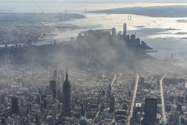 New York City, USA - March 9, 2017: An aerial view of lower Manhattan and Brooklyn