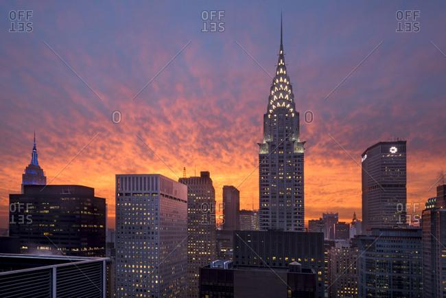 New York City, USA - April 5, 2017: A sunset over midtown manhattan