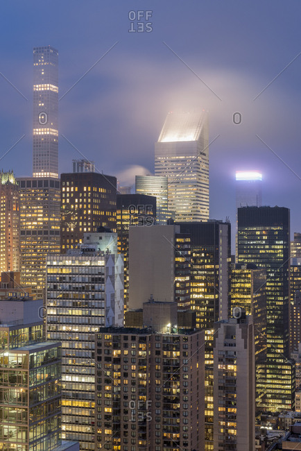 New York City, USA - April 5, 2017: Layers of New York city office buildings