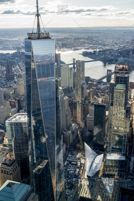 New York City, USA - April 8, 2017: An aerial view of lower manhattan with reflections off of One World Trade Center