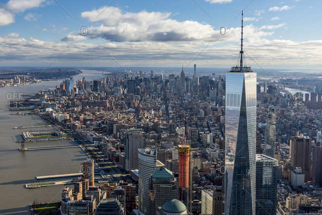 New York City, USA - April 8, 2017: A long aerial view from lower manhattan to midtown in New York city