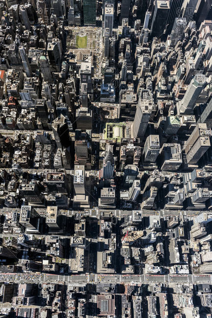 New York City, USA - April 8, 2017: An aerial view looking straight down on midtown manhattan