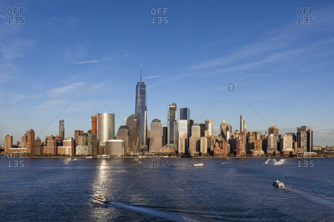New York City, USA - April 17, 2017: The skyline of lower manhattan in New York City