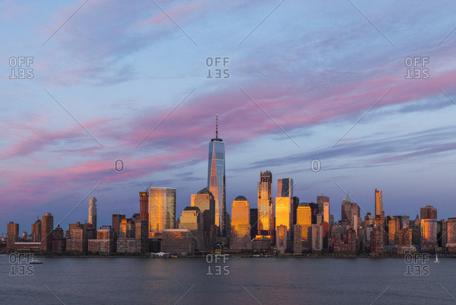 New York City, USA - April 17, 2017: The skyline of lower manhattan in New York City during sunset