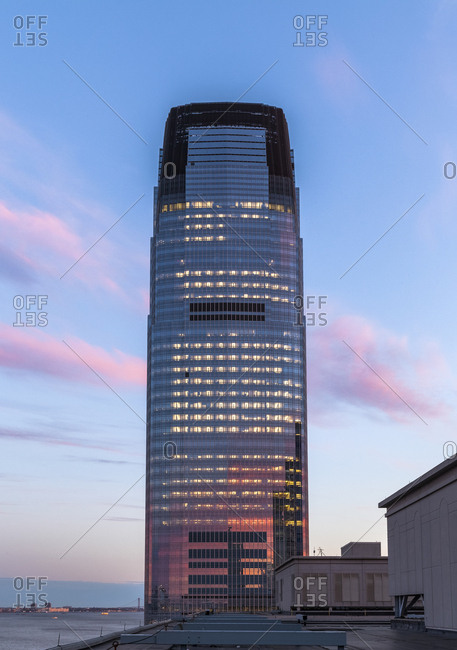 Jersey City, NJ, USA - April 17, 2017: The Goldman Sachs Headquarter lit up at night