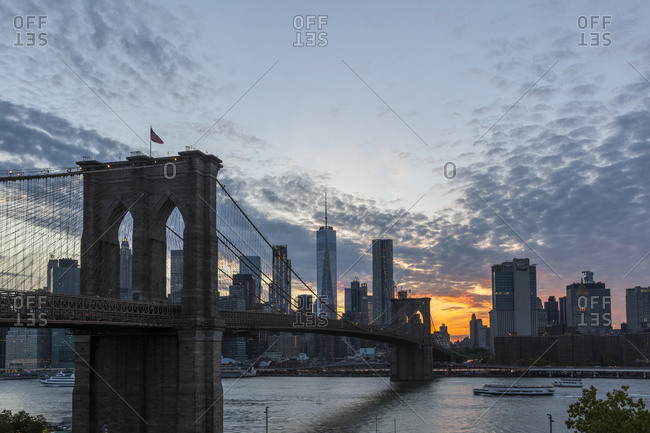 New York City, USA - May 11, 2017: Views from Brooklyn Bridge Park during sunset