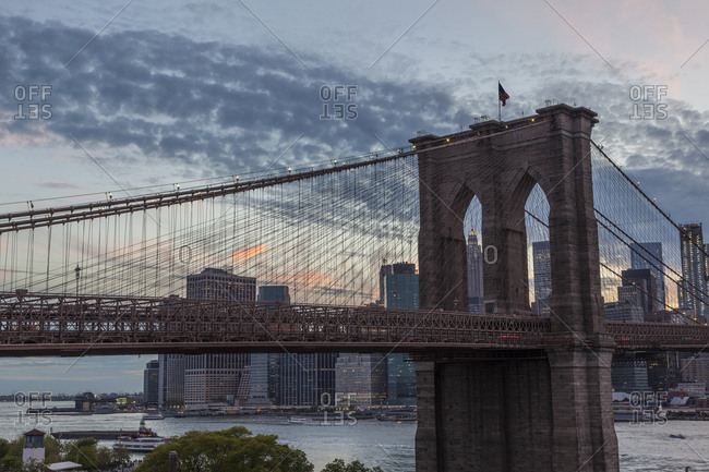 Brooklyn Bridge during sunset