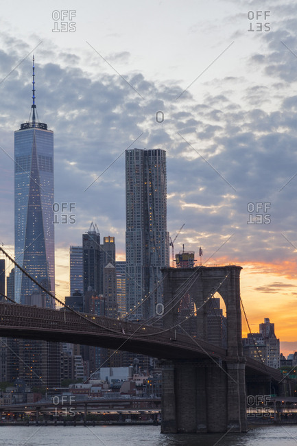 New York City, USA - May 11, 2017: Brooklyn Bridge during sunset