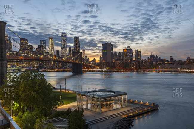 New York City, USA - May 11, 2017: Jane's Carousel in Brooklyn Bridge Park during sunset