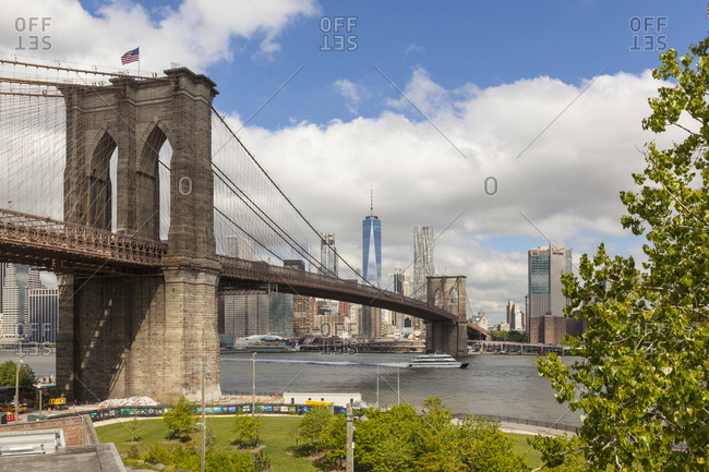 New York City, USA - May 12, 2017: Views from Brooklyn Bridge Park