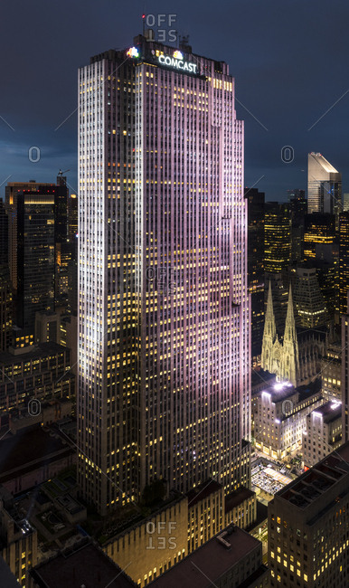 New York City, USA - May 14, 2017: A view of the Comcast building at night