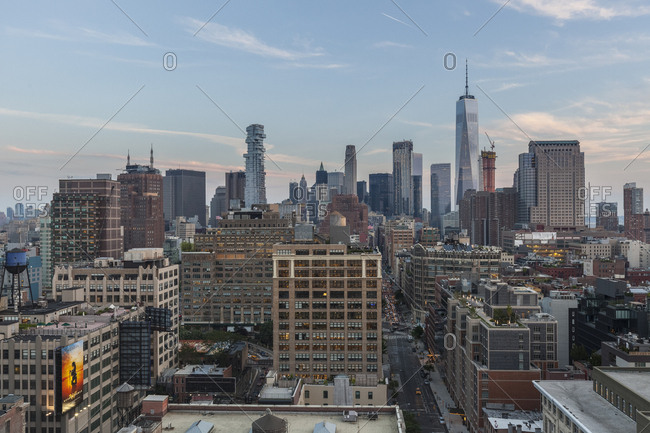 New York City, USA - May 17, 2017: A rooftop view of lower manhattan