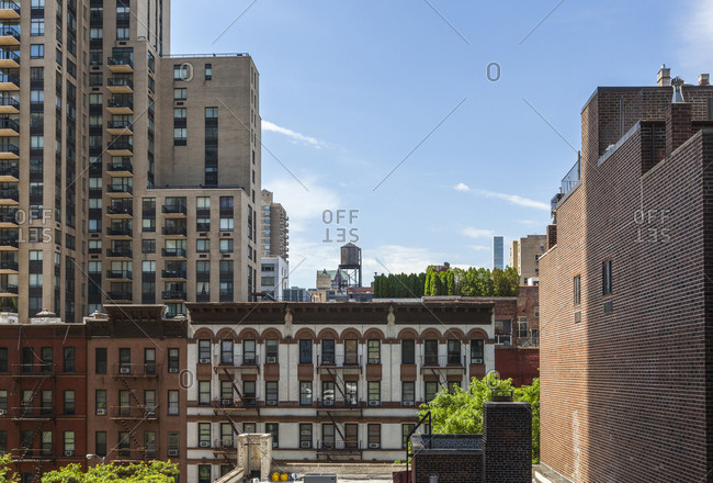New York City, USA - June 25, 2017: Residential buildings in New York City