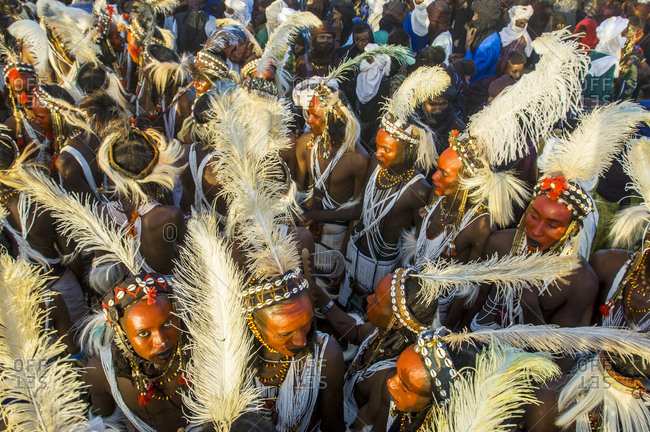 Niger - March 4, 2017: Young Bororo men dancing during Gerewol, the most important traditional meeting for Bororo tribe