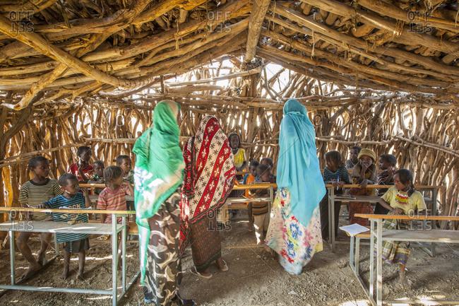 Tigray, Ethiopia - December 6, 2010: Daily life at Malabiday, the school