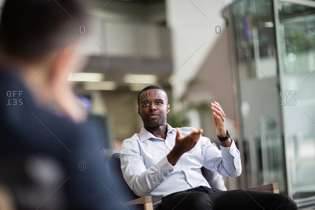 Businessman speaking in a meeting