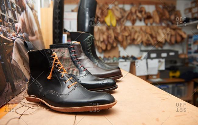 London, England - December 15, 2015: Shoe samples in a shoemaker's workshop