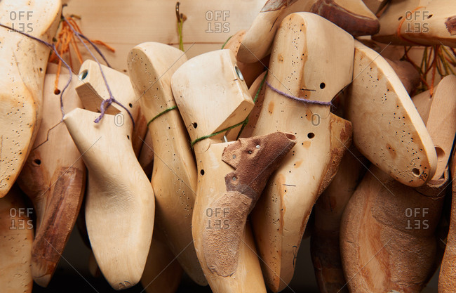 Wooden shoe lasts in a shoemaker's workshop