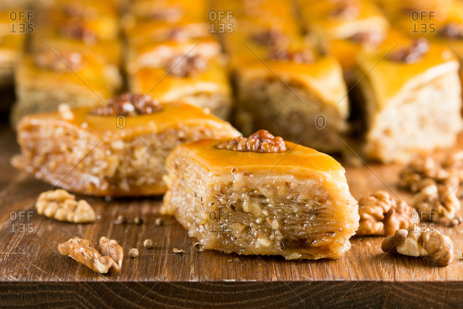 Baklava pieces on cutting board