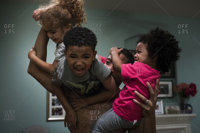 A family plays together at home