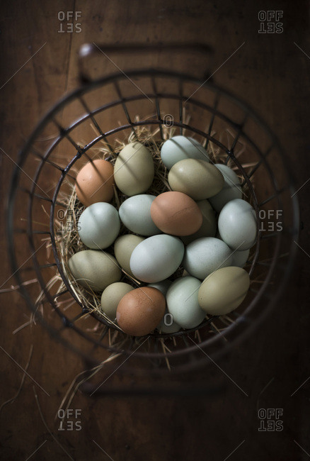Fresh, multi-colored eggs in metal basket with hay on a rustic wood surface