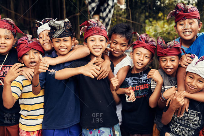 Bali, Indonesia - January 15, 2017: A group of kids smiling