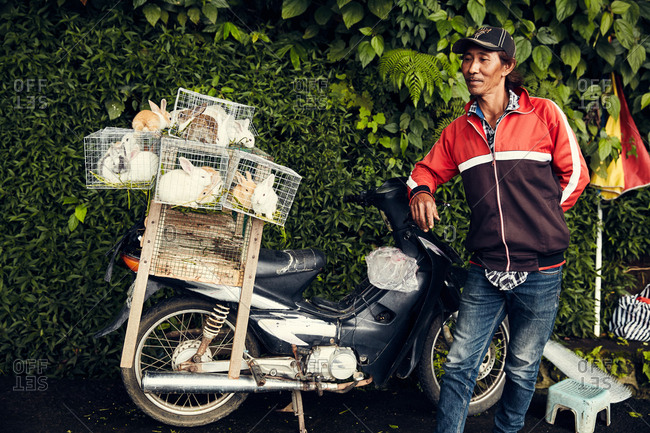 Bali, Indonesia - January 16, 2017: Man and his rabbits on a motorbike