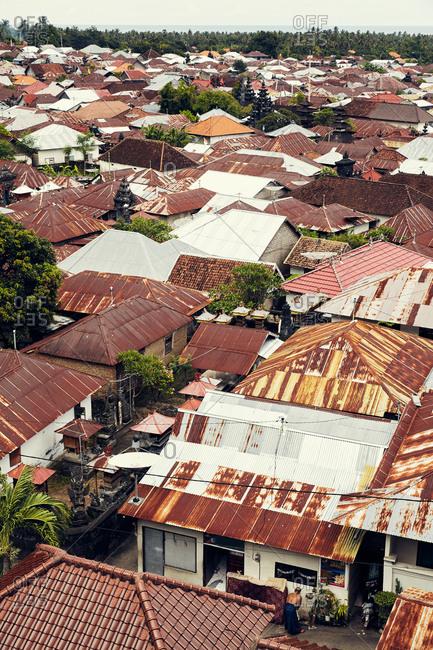 Bali, Indonesia - January 18, 2017: View over rooftops of neighborhood