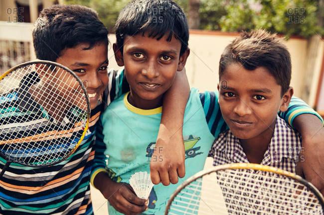 Jaffna, Sri Lanka - February 3, 2017: Boys with badminton rackets