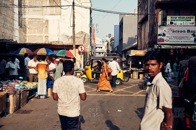 Colombo, Sri Lanka - February 8, 2017: A market area in city