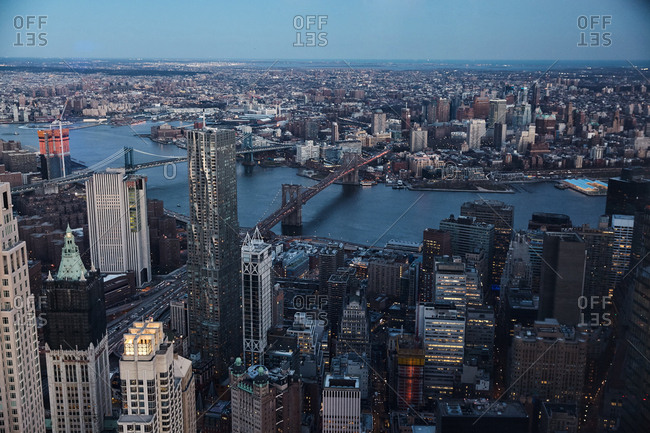 New York City - March 29, 2017: Aerial view over East River