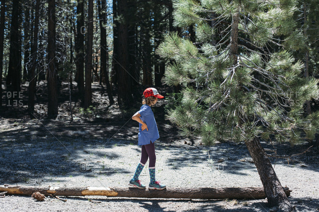 Side view of girl standing on tree trunk at Inyo National Forest