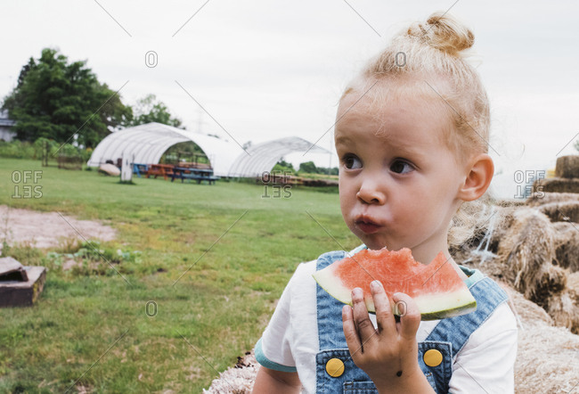 Girl eating watermelon against clear sky at farm