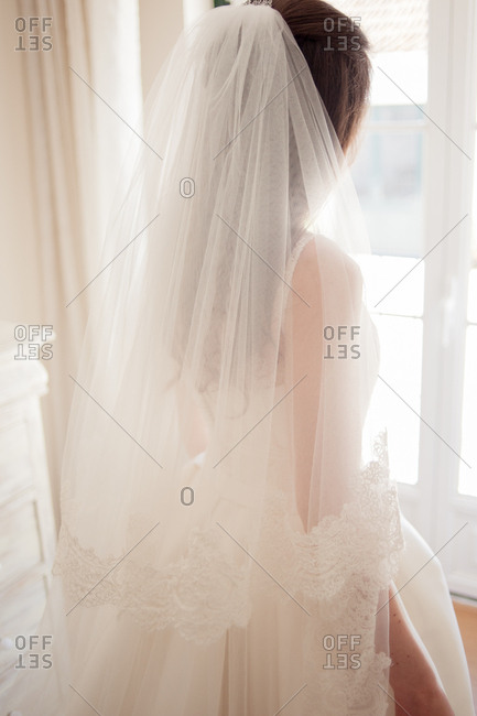 Rear view of bride wearing large lacy veil