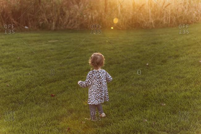 Girl walking in field at golden hour