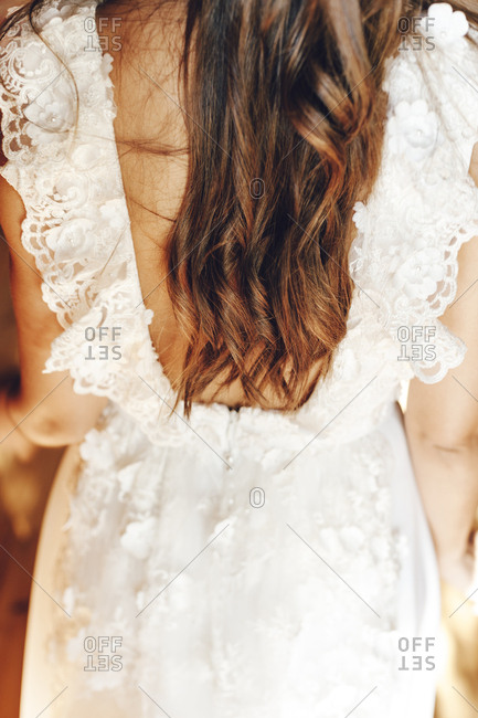 Close up of curly hair of a bride