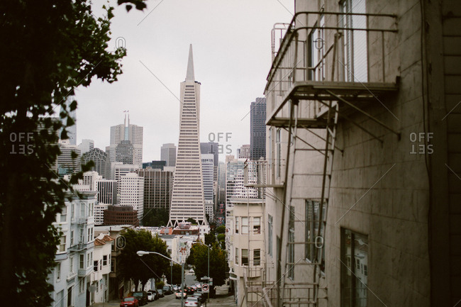 San Francisco, California, USA - August 19, 2017: City view of downtown and Transamerica Pyramid