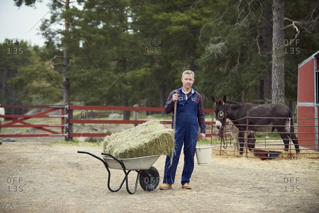 Portrait of farmer holding bucket and pitchfork while standing by wheelbarrow in farm