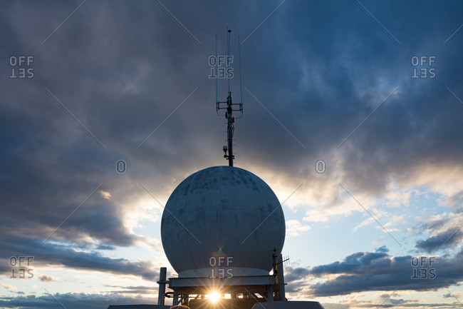 Radio Astronomy Observatory at sunset