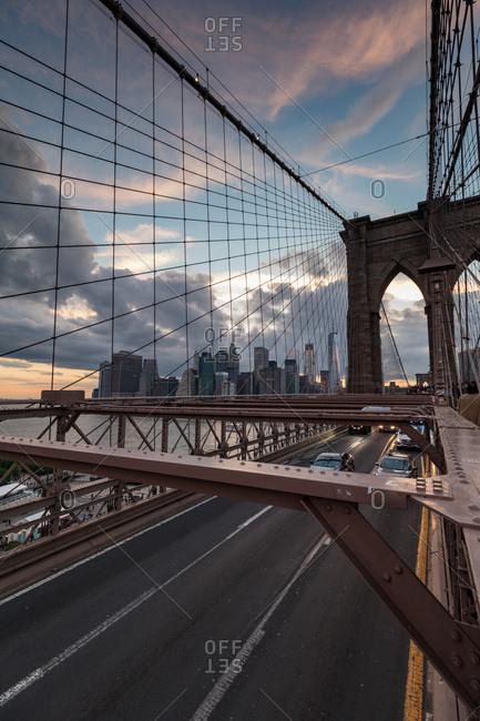 The Brooklyn Bridge in the evening