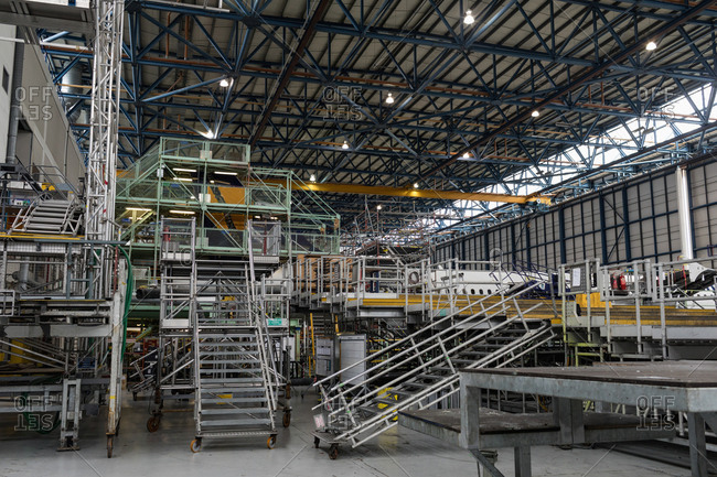 Empty aircraft maintenance platforms at airlines maintenance facility